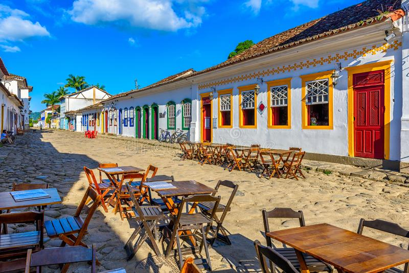 Street of historical center in Paraty, Rio de Janeiro, Brazil. Paraty is a preserved Portuguese colonial and Brazilian Imperial municipality stock photography