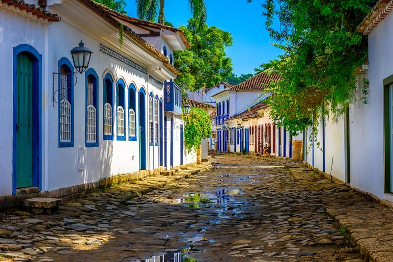 Street of historical center in Paraty, Rio de Janeiro, Brazil. Paraty is a preserved Portuguese colonial and Brazilian Imperial municipality royalty free stock images