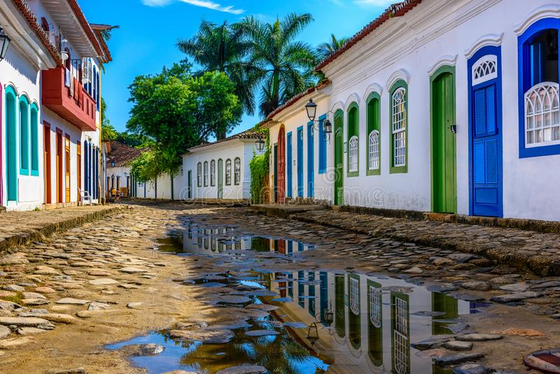 Street of historical center in Paraty, Rio de Janeiro, Brazil. Paraty is a preserved Portuguese colonial and Brazilian Imperial municipality royalty free stock photos