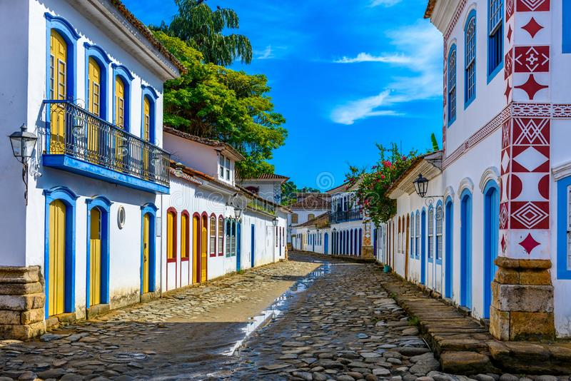 Street of historical center in Paraty, Rio de Janeiro, Brazil. Paraty is a preserved Portuguese colonial and Brazilian Imperial municipality stock photos