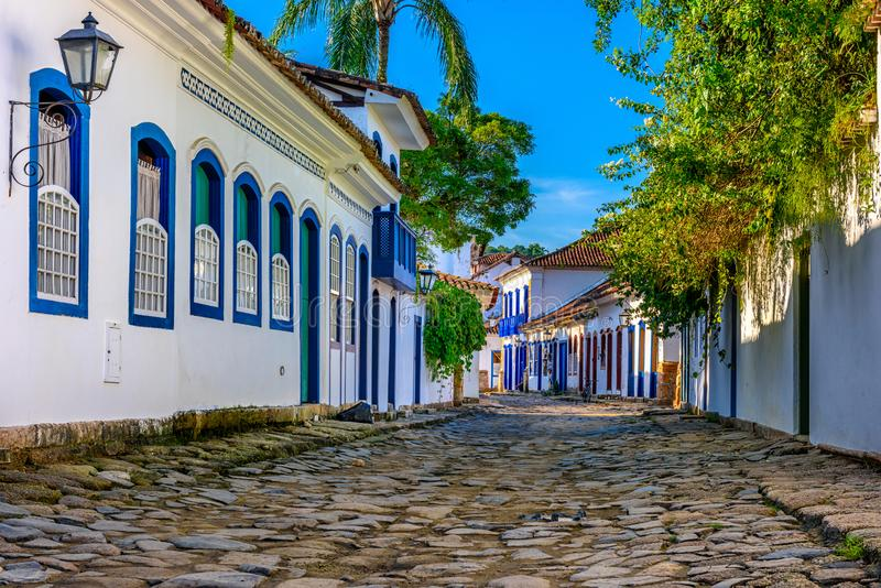 Street of historical center in Paraty, Rio de Janeiro, Brazil. Paraty is a preserved Portuguese colonial and Brazilian Imperial municipality stock photo