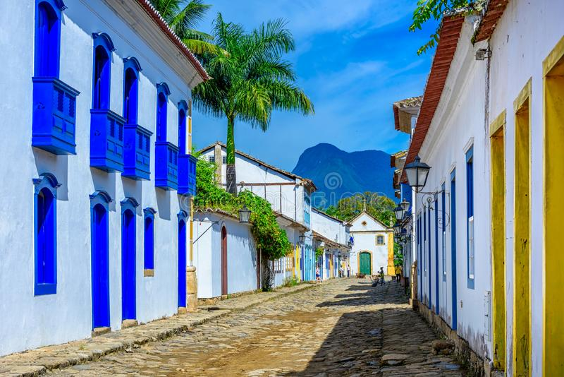 Street of historical center in Paraty, Rio de Janeiro, Brazil. Paraty is a preserved Portuguese colonial and Brazilian Imperial municipality royalty free stock photo