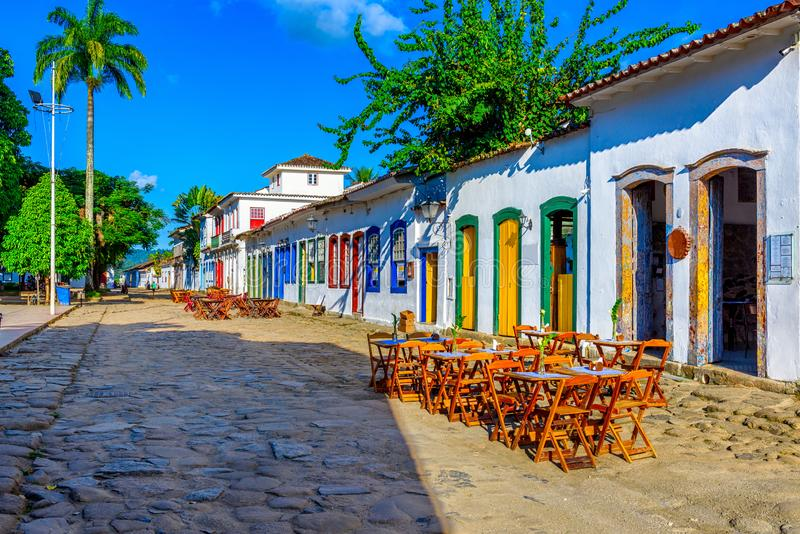 Street of historical center in Paraty, Rio de Janeiro, Brazil. Paraty is a preserved Portuguese colonial and Brazilian Imperial municipality royalty free stock image