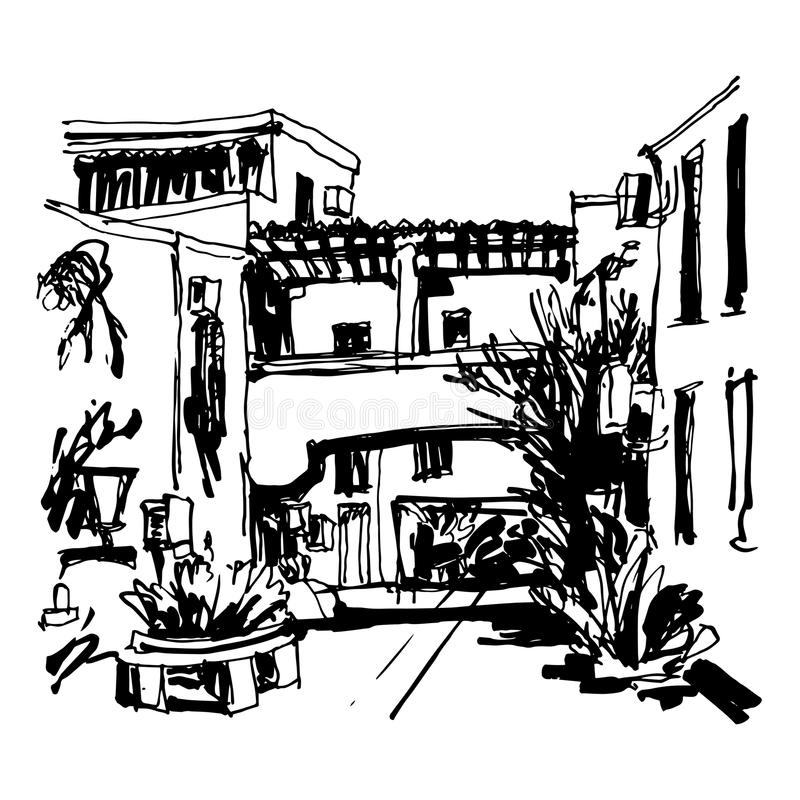 Street in hotel complex Slovenska Plaza in Budva Riviera Montenegro. Black and white sketching of street in hotel complex Slovenska Plaza in Budva Riviera vector illustration