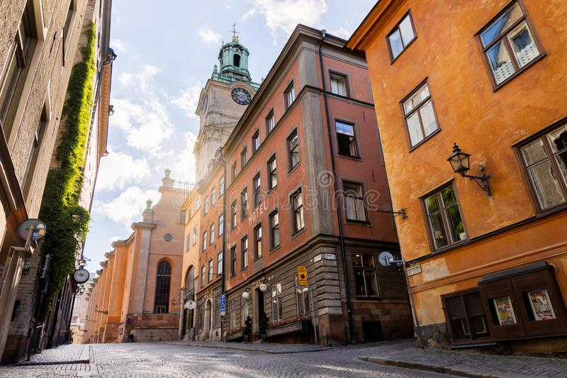 Street with hotel in Old Town Stockholm, Sweden royalty free stock photos