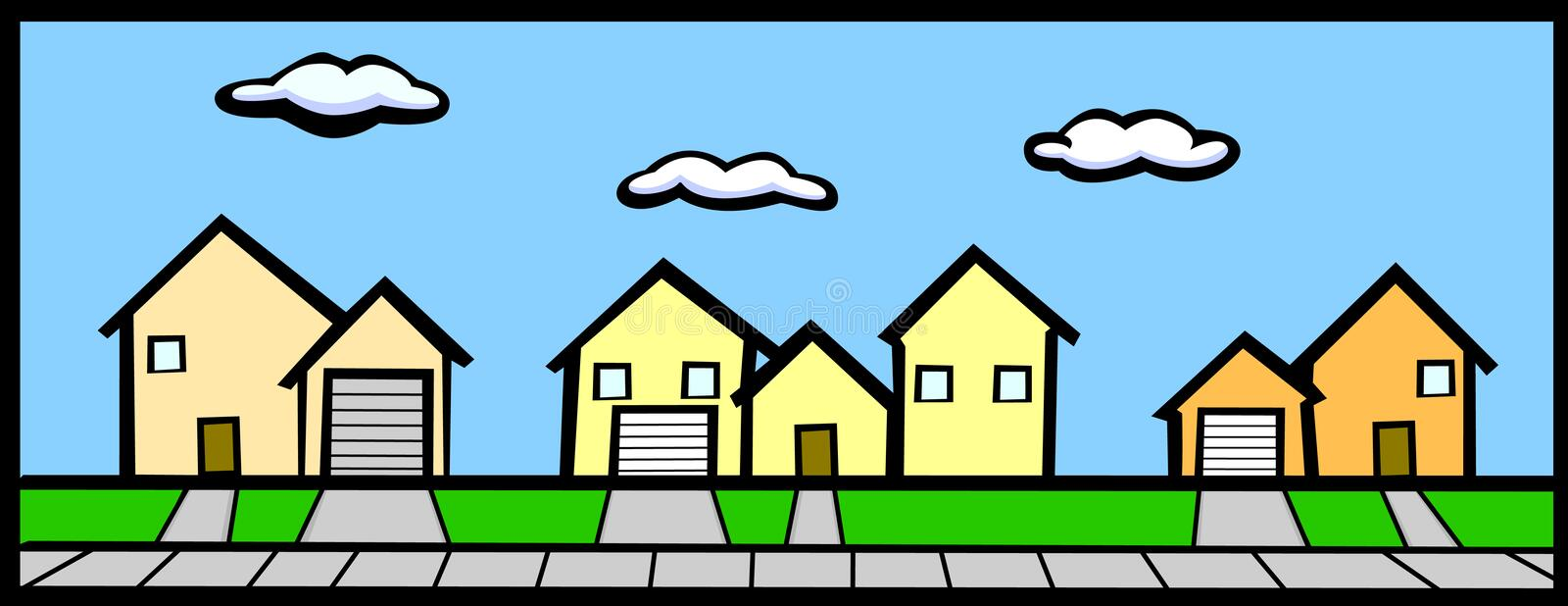 Street with houses royalty free illustration