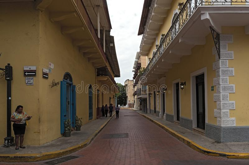 Street with houses in colonial style in the old town casco viejo of panama city royalty free stock photos