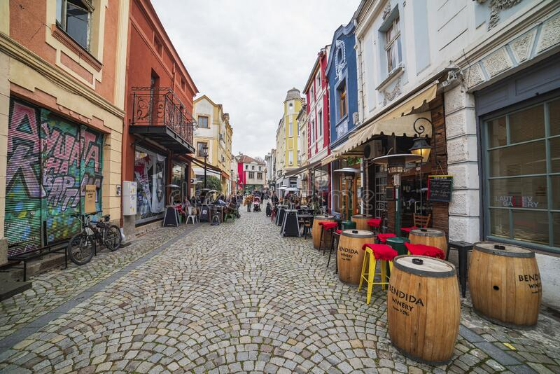 Street and houses in district Kapana, city of Plovdiv, Bulgaria.  stock image