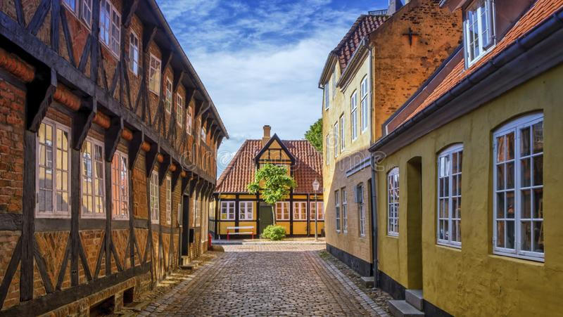 Street and houses in Ribe town, Denmark. Street and houses in medieval Ribe town, Denmark royalty free stock photos