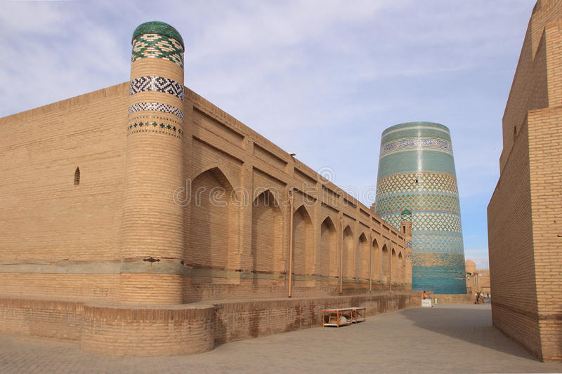 The street in Ichan Kala in Khiva city, Uzbekistan. Ichan Kala is the walled inner town of the city of Khiva, Uzbekistan. nThe old town retains more than 50 royalty free stock image