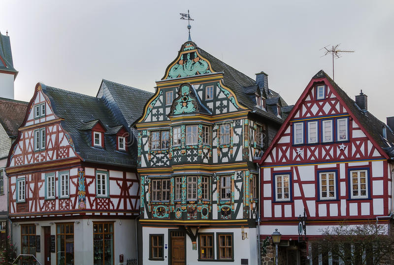Street in Idstein, Germany. Street with half-timbered houses in Idstein old town at night, Germany stock image