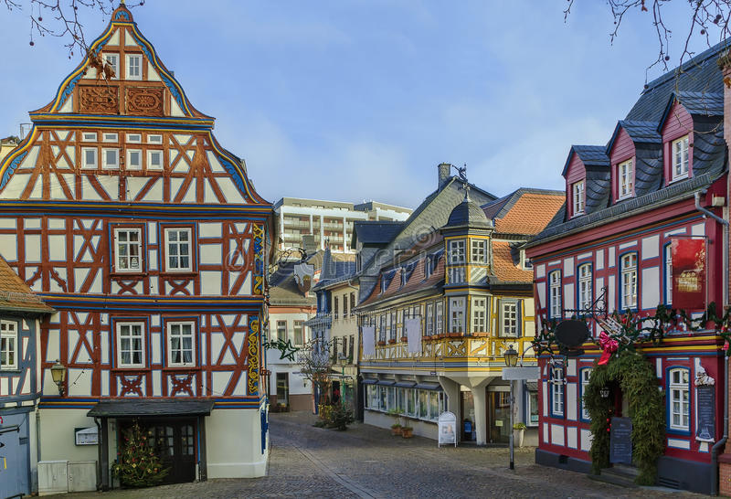 Street in Idstein, Germany. Street with half-timbered houses in Idstein old town at night, Germany stock images