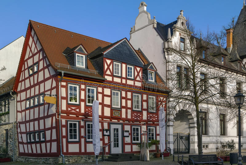 Street in Idstein, Germany. Street with half-timbered houses in Idstein old town at night, Germany royalty free stock photography
