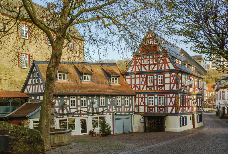 Street in Idstein, Germany. Street with half-timbered houses in Idstein old town at night, Germany royalty free stock photos