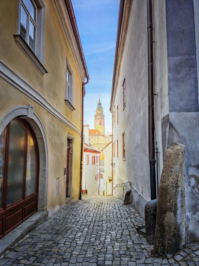 Free Street In The Old Town Of Cesky Krumlov And View Through The Castle Tower. It Is In Southern Bohemia And The City Belongs To The Royalty Free Stock Image - 171069656
