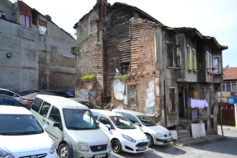 The street in Istanbul with old semi-suspended wooden houses. royalty free stock image