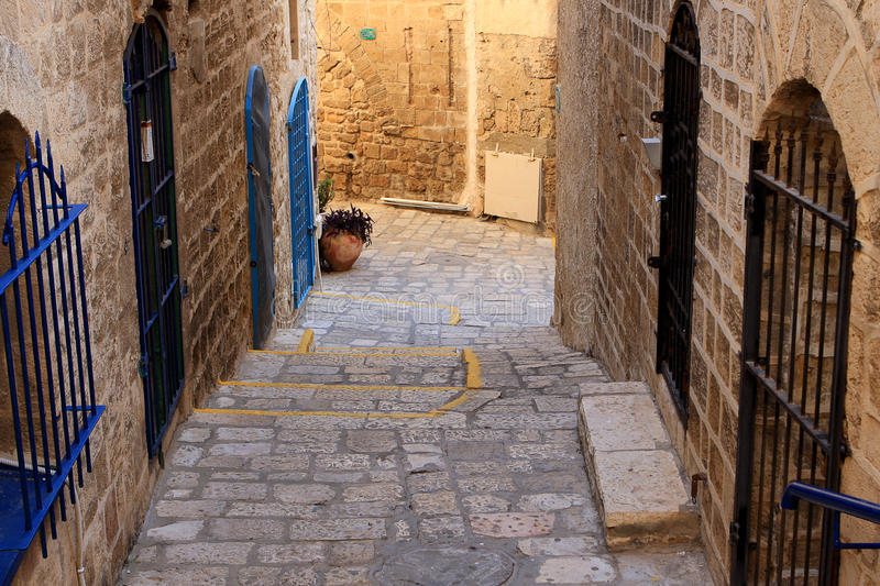 Street of Jaffa. Narrow street in the ancient part of Jaffa, Israel royalty free stock photo