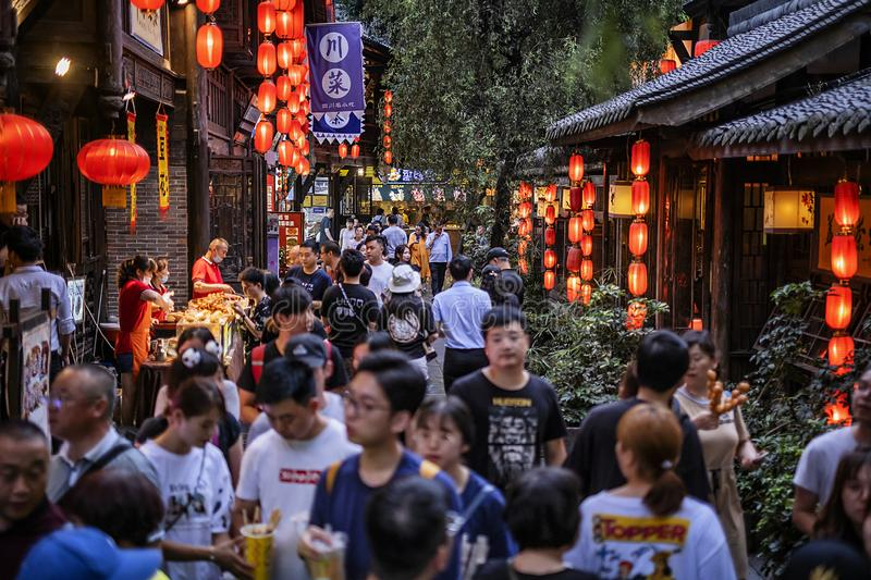 The street of Jinli Ancient Town, Chengdu stock images