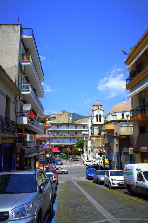 Street in Kavala ,Greece stock images