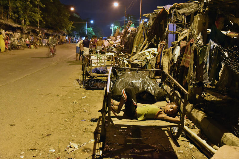 Street Of Kolkata. Streets of Kolkata. People live and work on the streets stock image