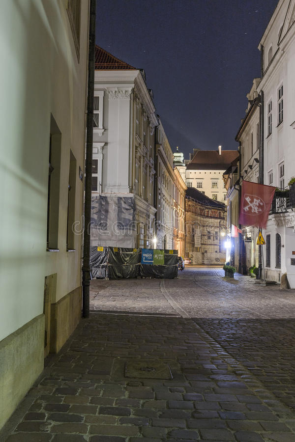 Street in Krakow by night royalty free stock photos