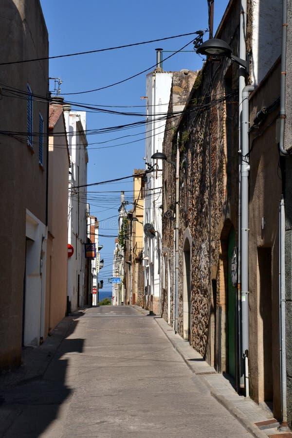 Street in L'Escala, Costa Brava, Spain royalty free stock image