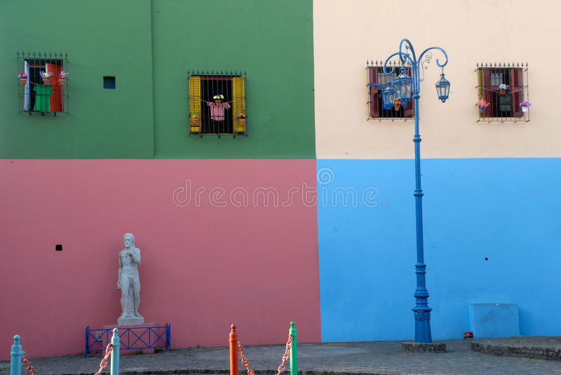 Street La Boca - Caminito, Buenos Aires. Typical colorful house and facade in the famous La Boca district in Buenos Aires, Argentina royalty free stock image