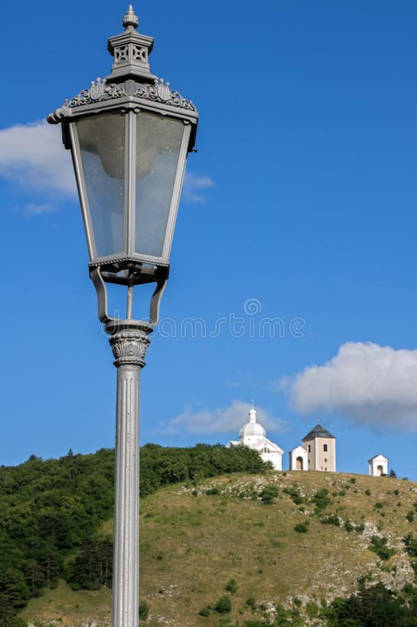 Street lamp on the background of Holy Hill with chapel, Mikulov stock photos
