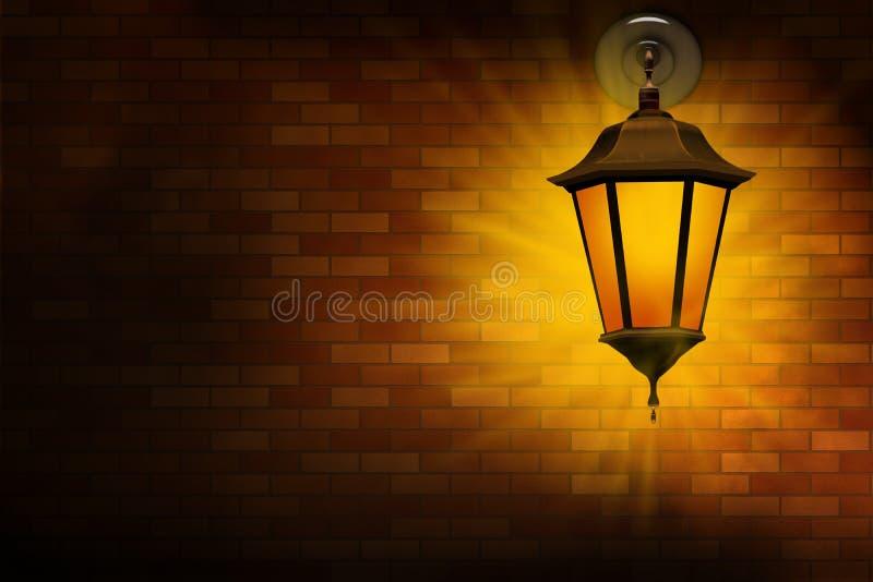 Street Lamp On A Brick Wall Stock Image