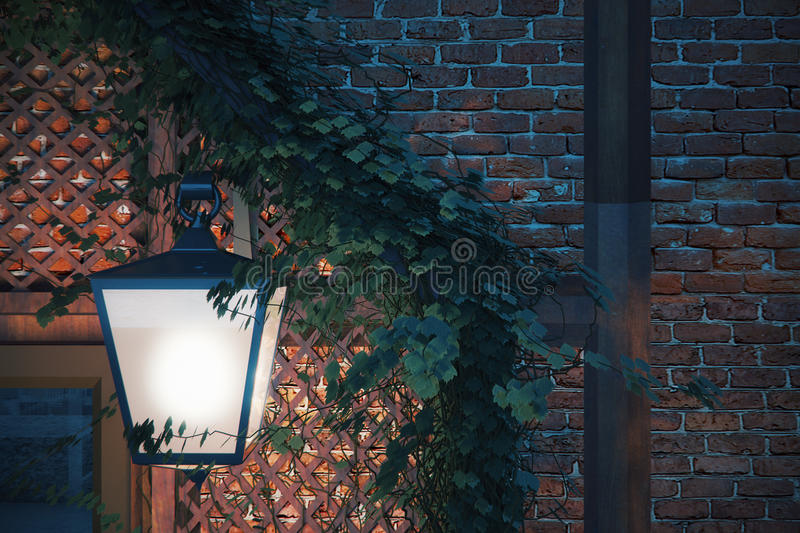 Street lamp closeup. Closeup of street lamp on brick wall with ivy leaves. 3D Rendering royalty free illustration