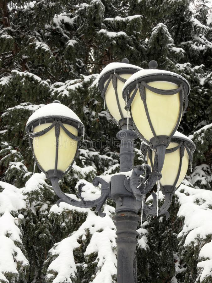 Street lamp covered with snow royalty free stock photos