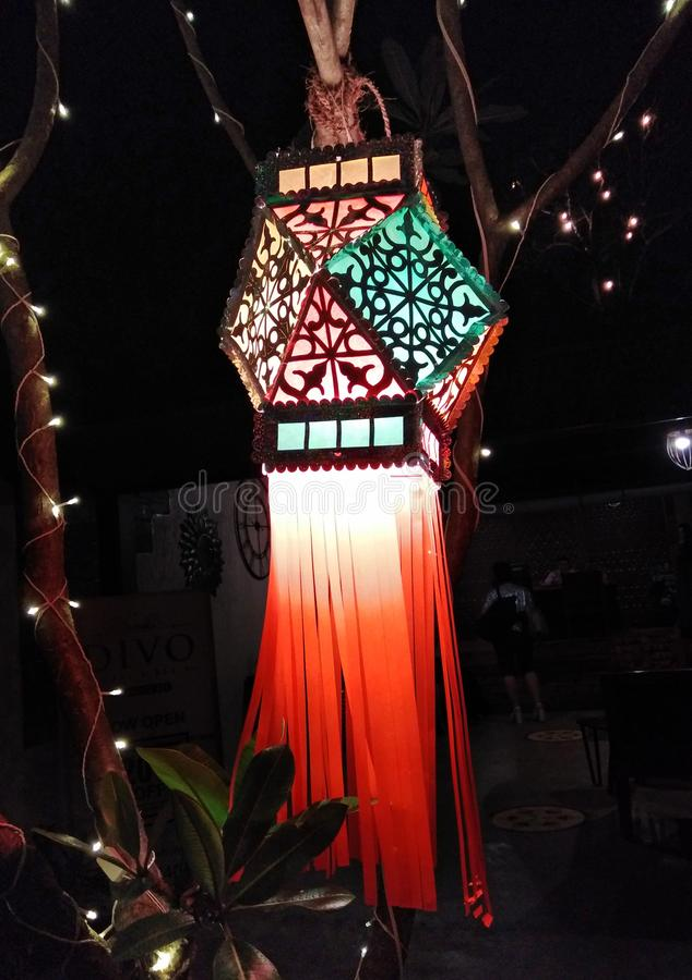 Street lamp decor in Mandrem-Ashvem, Goa, India. Street lamp decor by night in Mandrem-Ashvem area, Pernem road, Goa, India royalty free stock photo