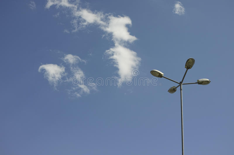 Street lamp with eco bulbs royalty free stock photography