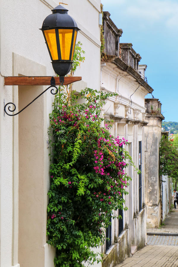 Street lamp in historic quarter of Colonia del Sacramento, Uruguay. It is one of the oldest towns in Uruguay royalty free stock images