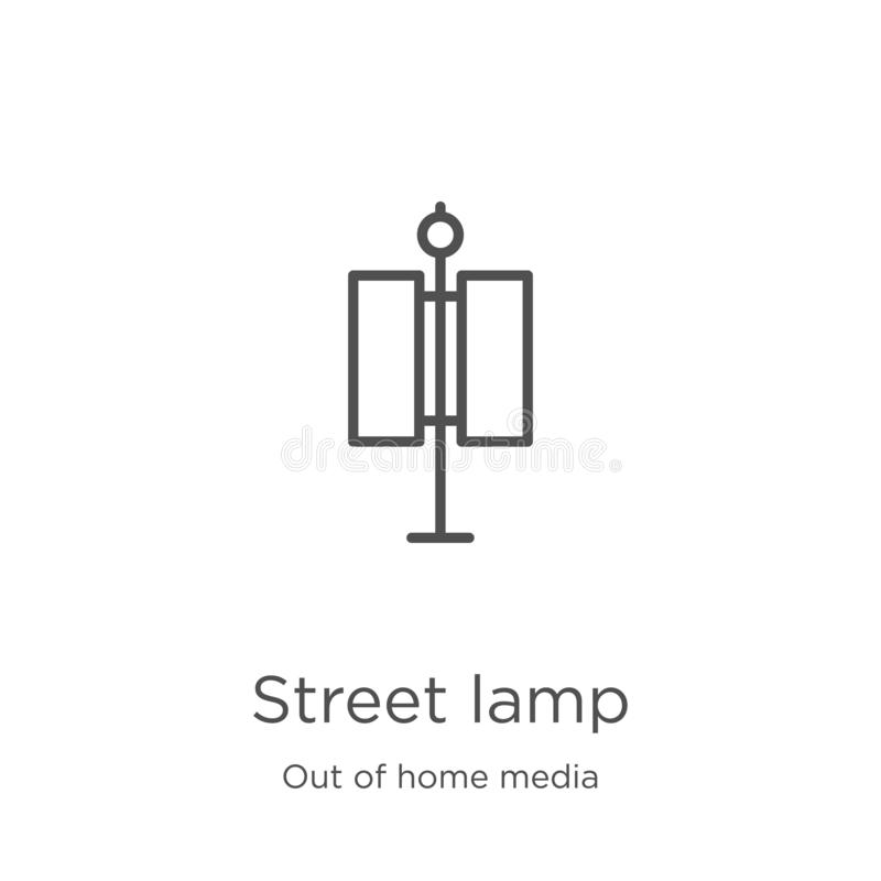 street lamp icon vector from out of home media collection. Thin line street lamp outline icon vector illustration. Outline, thin vector illustration