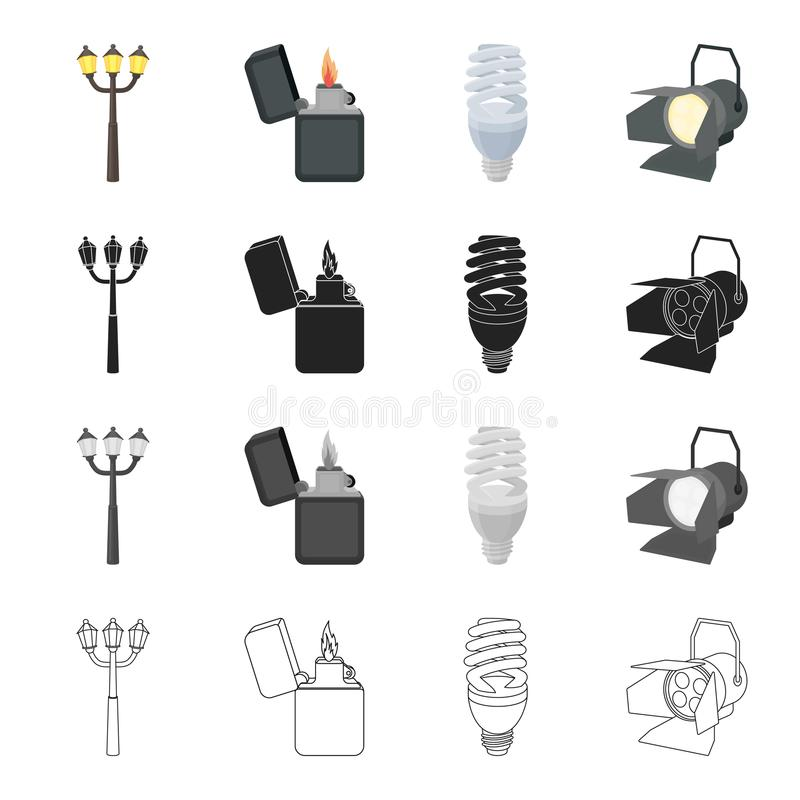 Street lamp, a lighter`s flame, an electric bulb, a floodlight. Light source set collection icons in cartoon black. Monochrome outline style vector symbol stock royalty free illustration