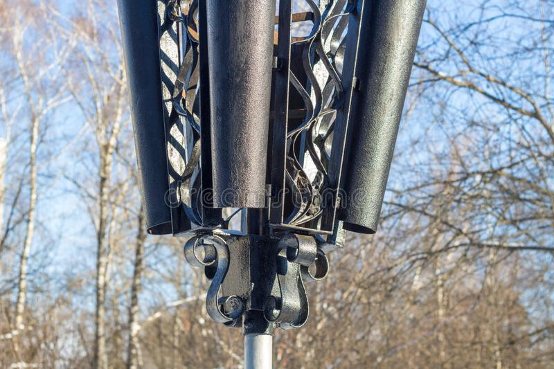 Street lamp in park. Close royalty free stock photography