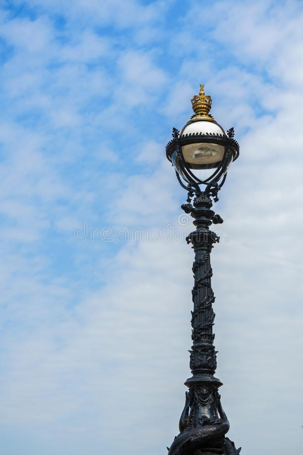 Street Lamp on South Bank of River Thames, London, England, UK stock image