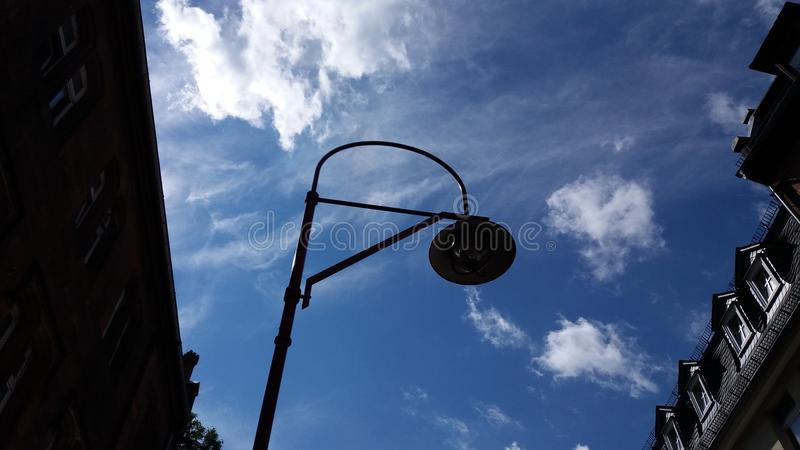 Street lamp in a street in Marburg stock photography