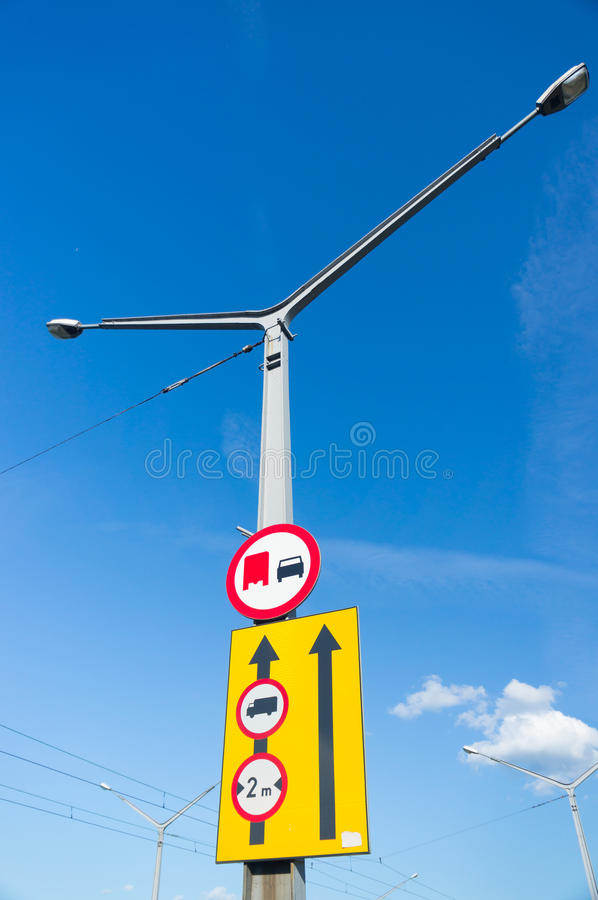 Street lamp traffic signs royalty free stock photography