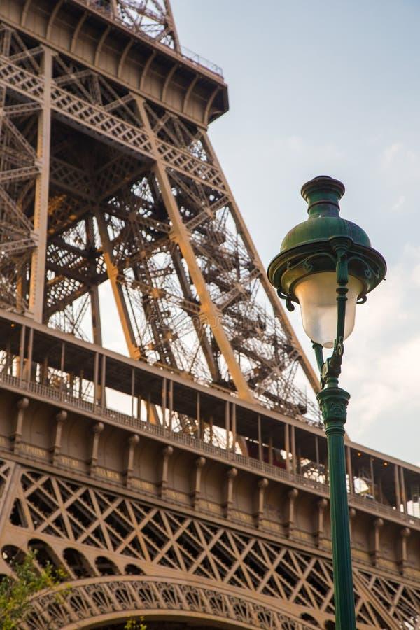 Street lamp under eiffel tower stock photo