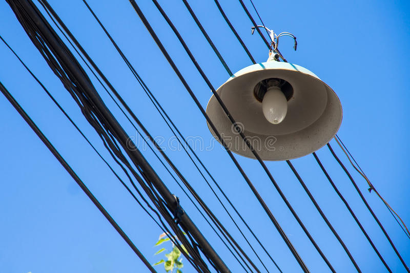 Download Street Lamp & Wire On Blue Sky Stock Photo - Image: 83702072