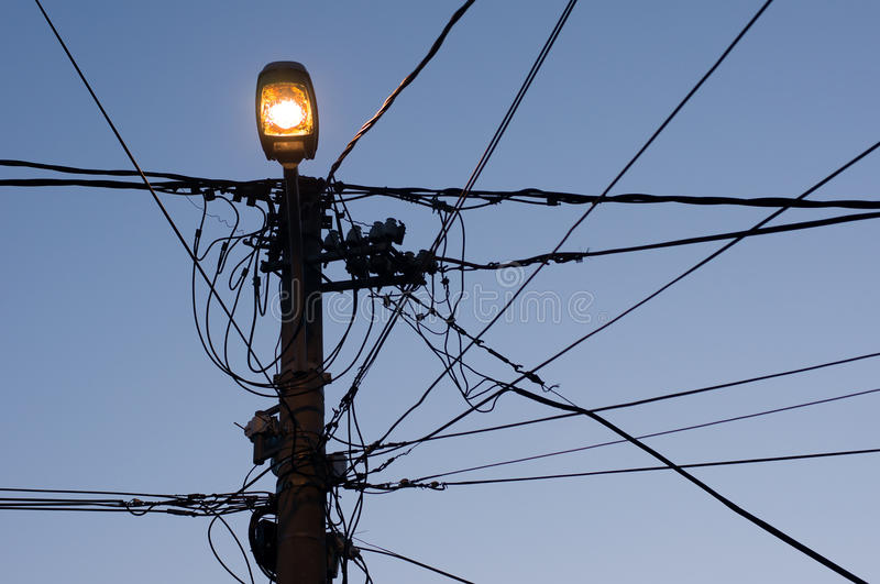 Street lamp and wires stock photo. Image of electric - 61398954