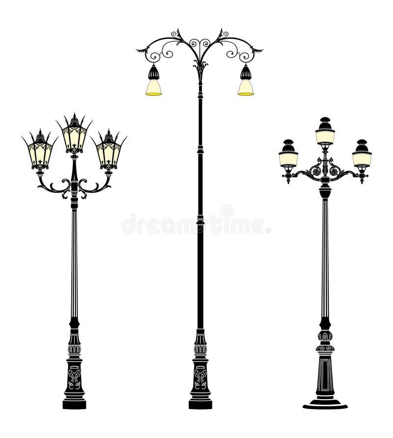 Street lamps. Italian forged iron elegant street lamps stock illustration