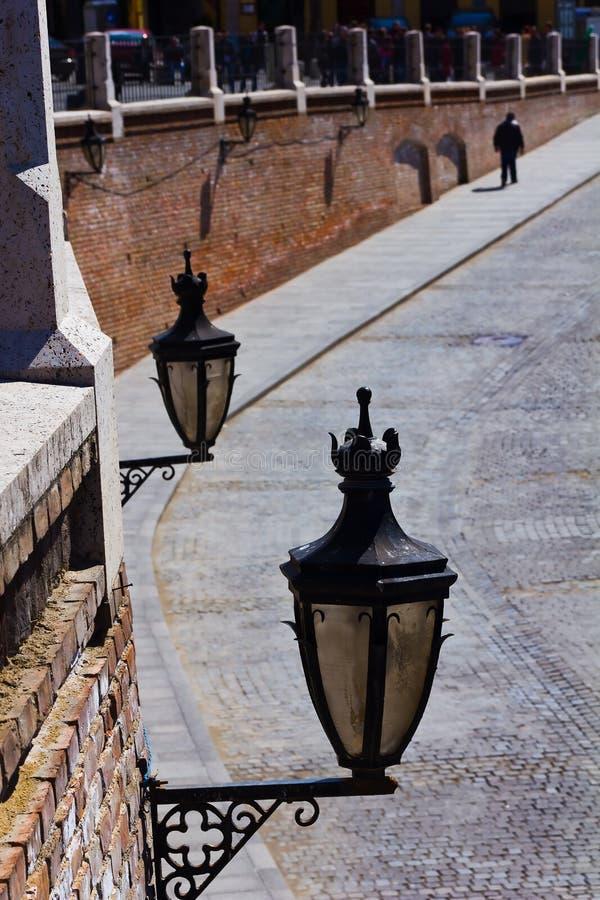 Street lamps in old town center of Sibiu, Transylvania, Romania