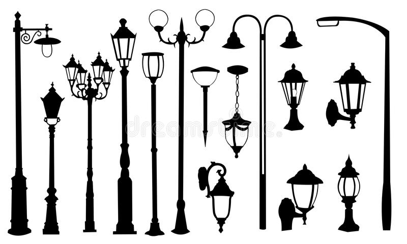 Street lamps. Set of different street lamps vector illustration