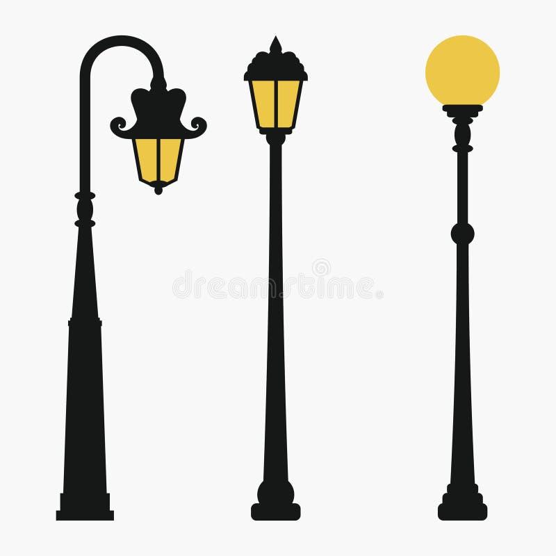 Street lamps set. Vintage city lantern. Vector illustration. royalty free illustration