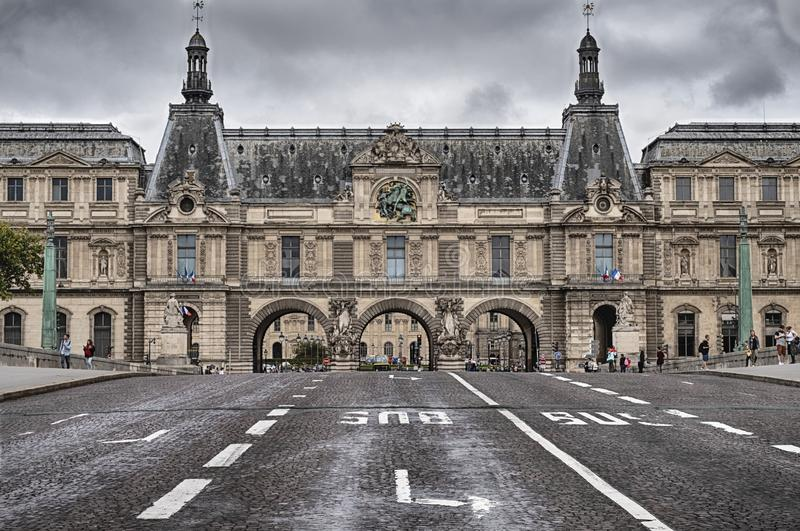 Street Lanes Going To the Louvre royalty free stock photos