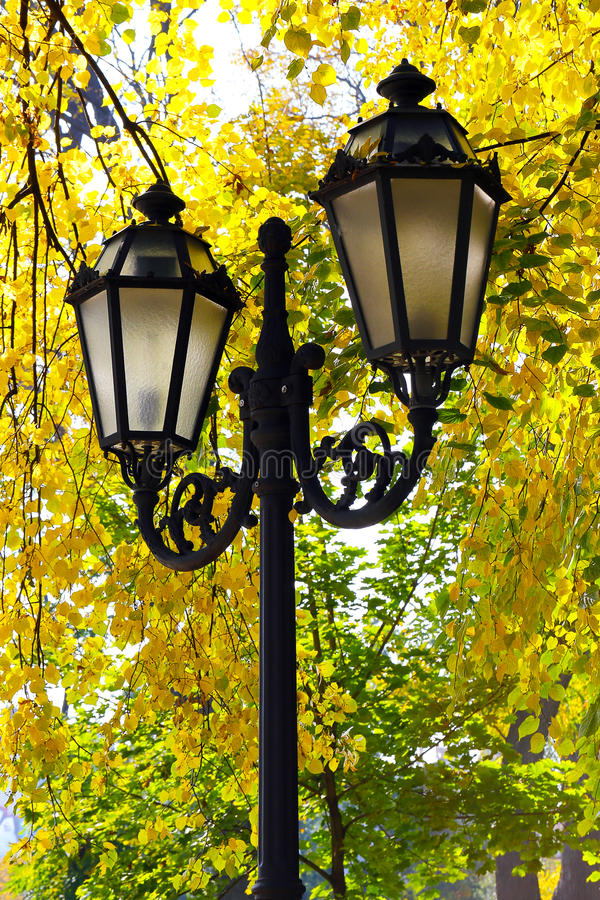 Download Street Lantern On The Autumn Foliage Background Stock Image - Image: 34424103
