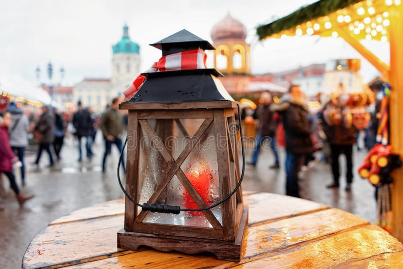 Street Lantern on Christmas Market at Charlottenburg Palace in Winter Berlin, Germany. Advent Fair Decoration and Stalls with the stock photo